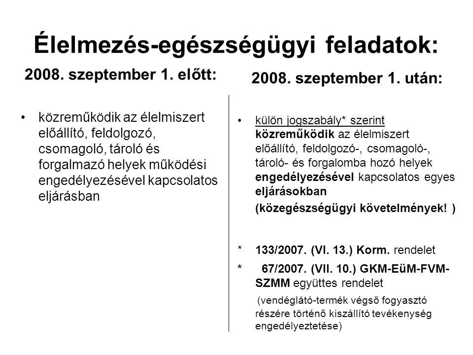 Élelmezés-egészségügyi feladatok: 2008. szeptember 1.