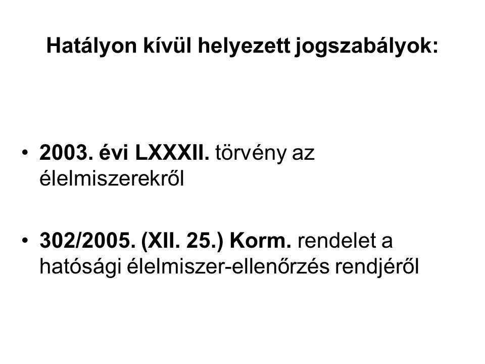 Hatályon kívül helyezett jogszabályok: 2003. évi LXXXII.