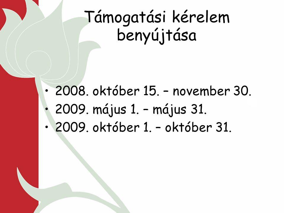 Támogatási kérelem benyújtása 2008. október 15. – november 30.