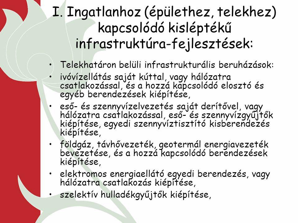 I. Ingatlanhoz (épülethez, telekhez) kapcsolódó kisléptékű infrastruktúra-fejlesztések: Telekhatáron belüli infrastrukturális beruházások: ivóvízellát