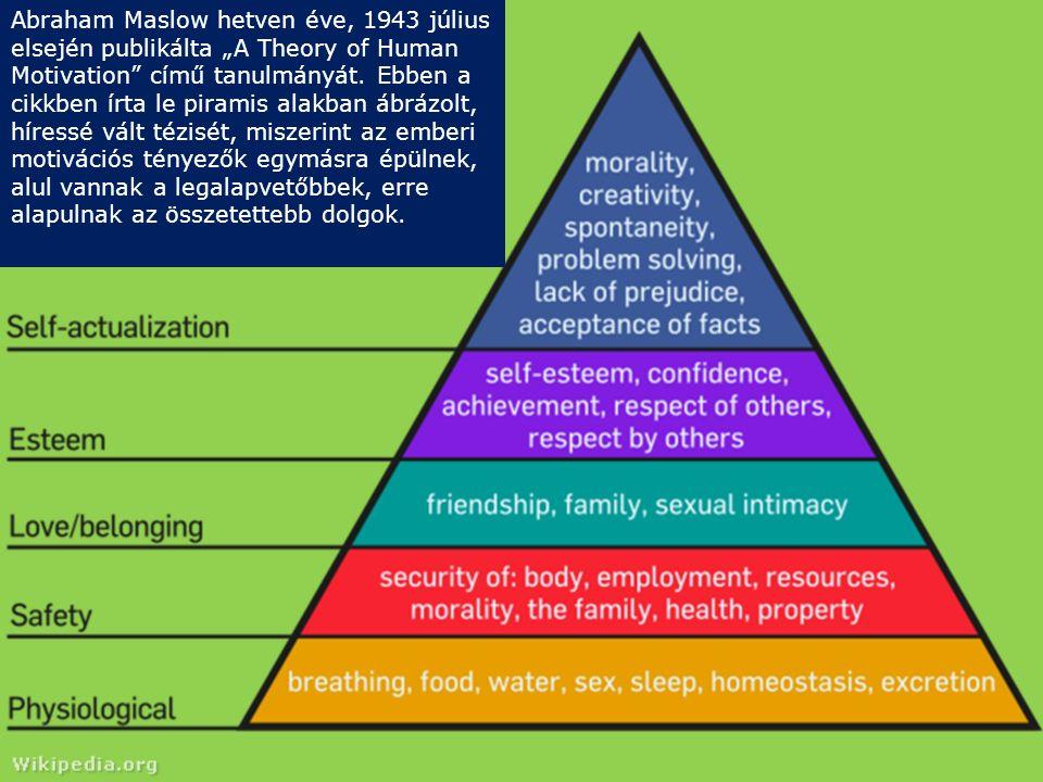 """Abraham Maslow hetven éve, 1943 július elsején publikálta """"A Theory of Human Motivation"""" című tanulmányát. Ebben a cikkben írta le piramis alakban ábr"""
