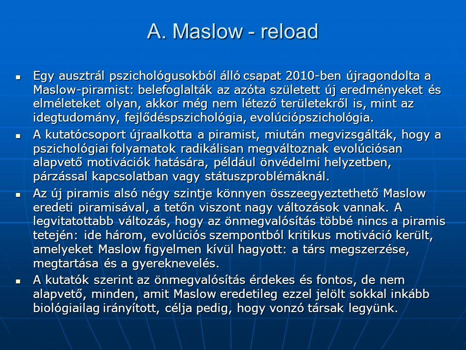 A. Maslow - reload Egy ausztrál pszichológusokból álló csapat 2010-ben újragondolta a Maslow-piramist: belefoglalták az azóta született új eredményeke