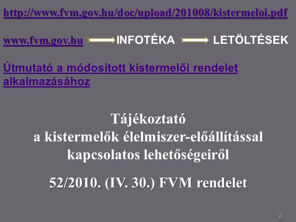 2 http://www.fvm.gov.hu/doc/upload/201008/kistermeloi.pdf http://www.fvm.gov.hu/doc/upload/201008/kistermeloi.pdf www.fvm.gov.huwww.fvm.gov.hu www.fvm.gov.hu INFOTÉKA LETÖLTÉSEK www.fvm.gov.hu Útmutató a módosított kistermelői rendelet alkalmazásához Tájékoztató a kistermelők élelmiszer-előállítással kapcsolatos lehetőségeiről 52/2010.