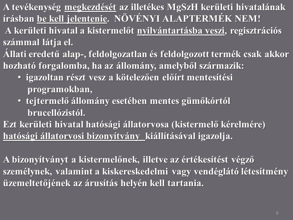 9 A tevékenység megkezdését az illetékes MgSzH kerületi hivatalának írásban be kell jelentenie. NÖVÉNYI ALAPTERMÉK NEM! A kerületi hivatal a kistermel