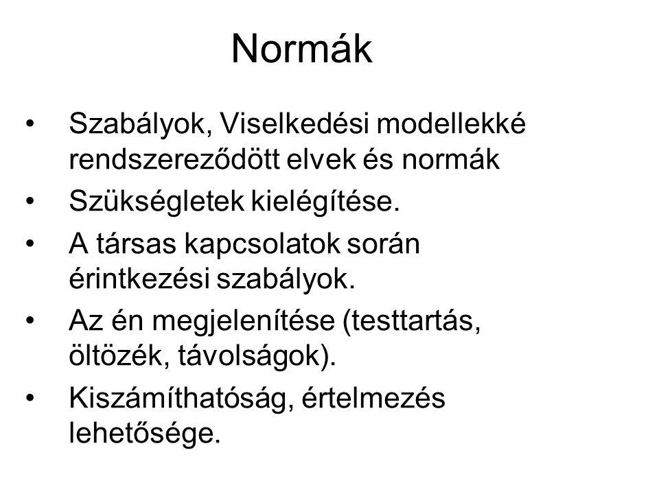 4. A normák A normák alatt az egy társadalomban érvényesülő viselkedési szabályokat értjük.