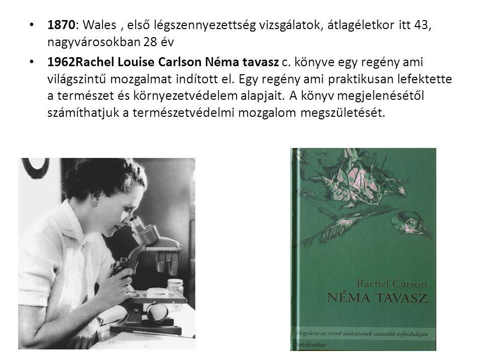 1870: Wales, első légszennyezettség vizsgálatok, átlagéletkor itt 43, nagyvárosokban 28 év 1962Rachel Louise Carlson Néma tavasz c.