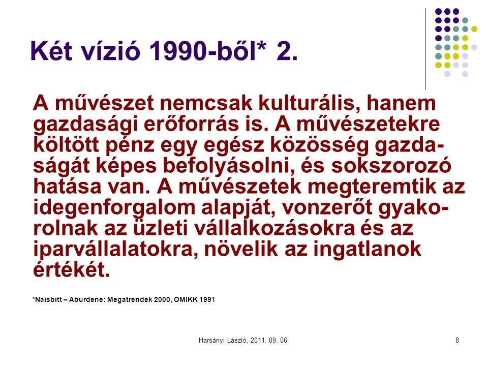 Két vízió 1990-ből* 2. A művészet nemcsak kulturális, hanem gazdasági erőforrás is.