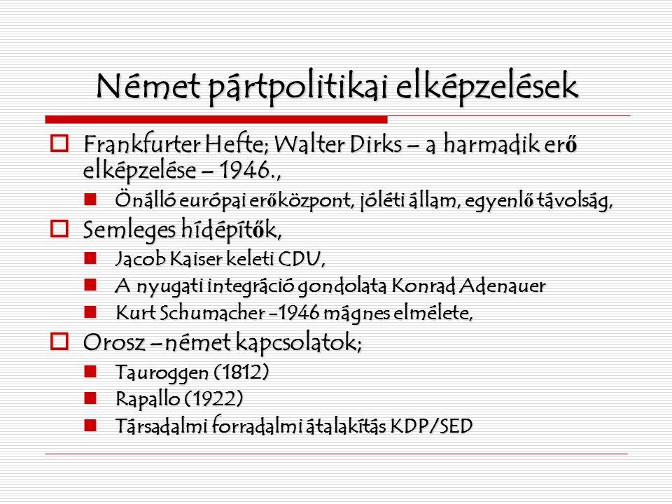 Német pártpolitikai elképzelések  Frankfurter Hefte; Walter Dirks – a harmadik er ő elképzelése – 1946., Önálló európai er ő központ, jóléti állam, egyenl ő távolság, Önálló európai er ő központ, jóléti állam, egyenl ő távolság,  Semleges hídépít ő k, Jacob Kaiser keleti CDU, Jacob Kaiser keleti CDU, A nyugati integráció gondolata Konrad Adenauer A nyugati integráció gondolata Konrad Adenauer Kurt Schumacher -1946 mágnes elmélete, Kurt Schumacher -1946 mágnes elmélete,  Orosz –német kapcsolatok; Tauroggen (1812) Tauroggen (1812) Rapallo (1922) Rapallo (1922) Társadalmi forradalmi átalakítás KDP/SED Társadalmi forradalmi átalakítás KDP/SED
