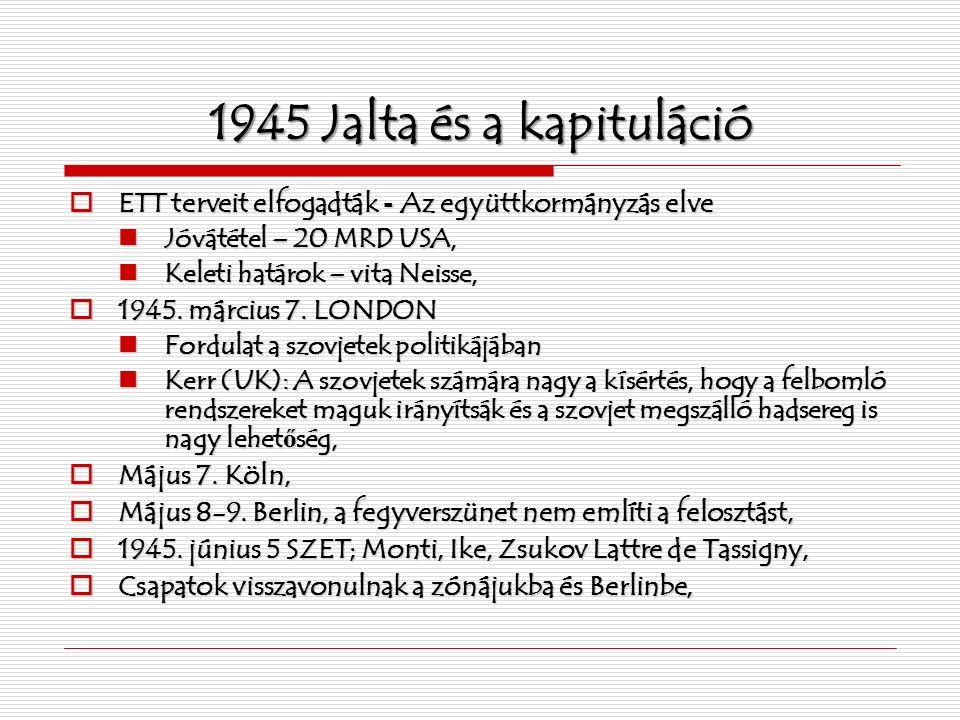 1945 Jalta és a kapituláció  ETT terveit elfogadták - Az együttkormányzás elve Jóvátétel – 20 MRD USA, Jóvátétel – 20 MRD USA, Keleti határok – vita Neisse, Keleti határok – vita Neisse,  1945.