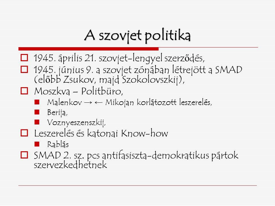 A szovjet politika  1945. április 21. szovjet-lengyel szerz ő dés,  1945.