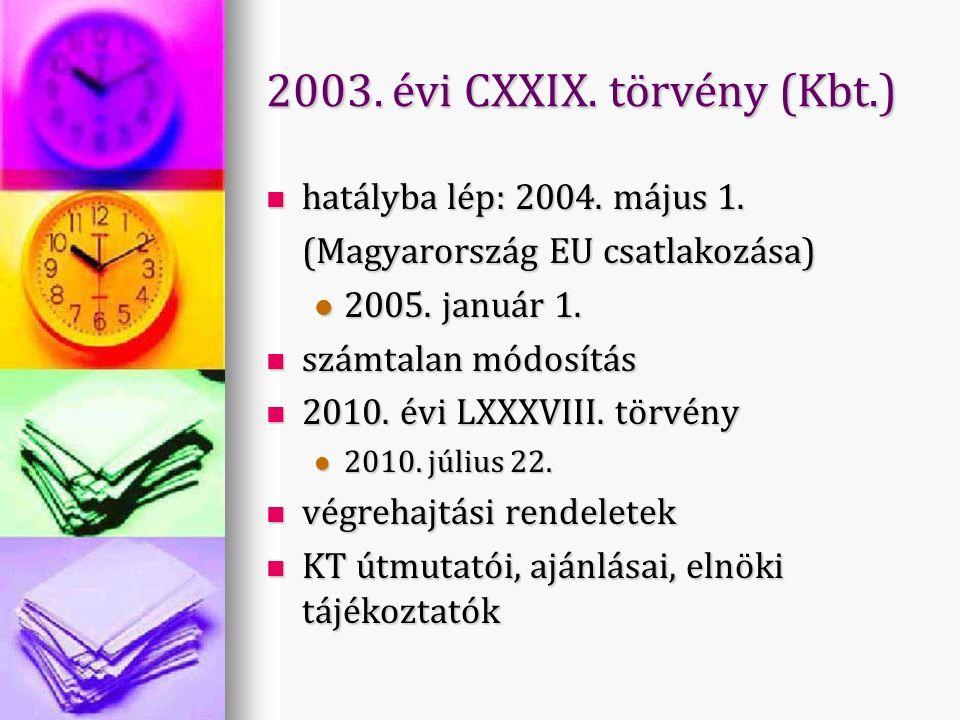 2003. évi CXXIX. törvény (Kbt.) hatályba lép: 2004.