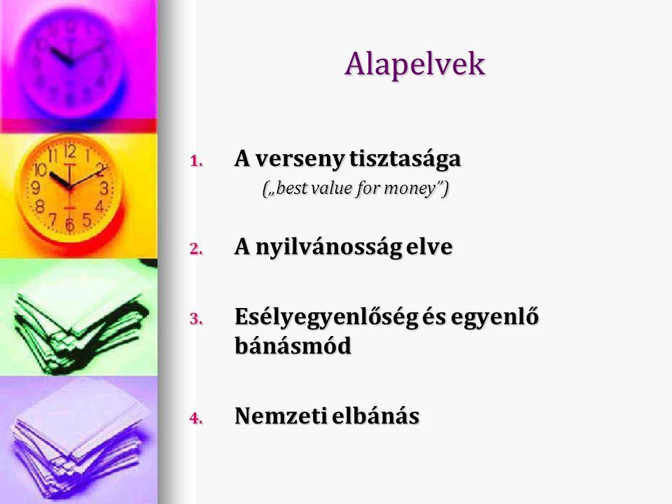 """Alapelvek 1. A verseny tisztasága (""""best value for money ) 2."""