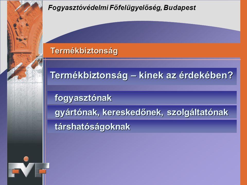 Fogyasztóvédelmi Főfelügyelőség, Budapest Termékbiztonság – kinek az érdekében.