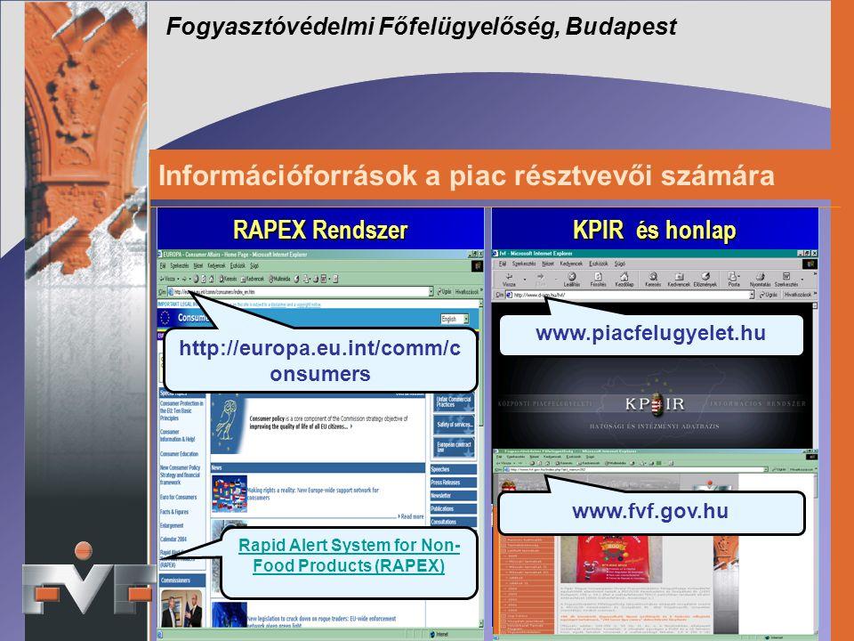 Információforrások a piac résztvevői számára Fogyasztóvédelmi Főfelügyelőség, Budapest RAPEX Rendszer RAPEX Rendszer KPIR és honlap www.piacfelugyelet.hu http://europa.eu.int/comm/c onsumers Rapid Alert System for Non- Food Products (RAPEX) www.fvf.gov.hu