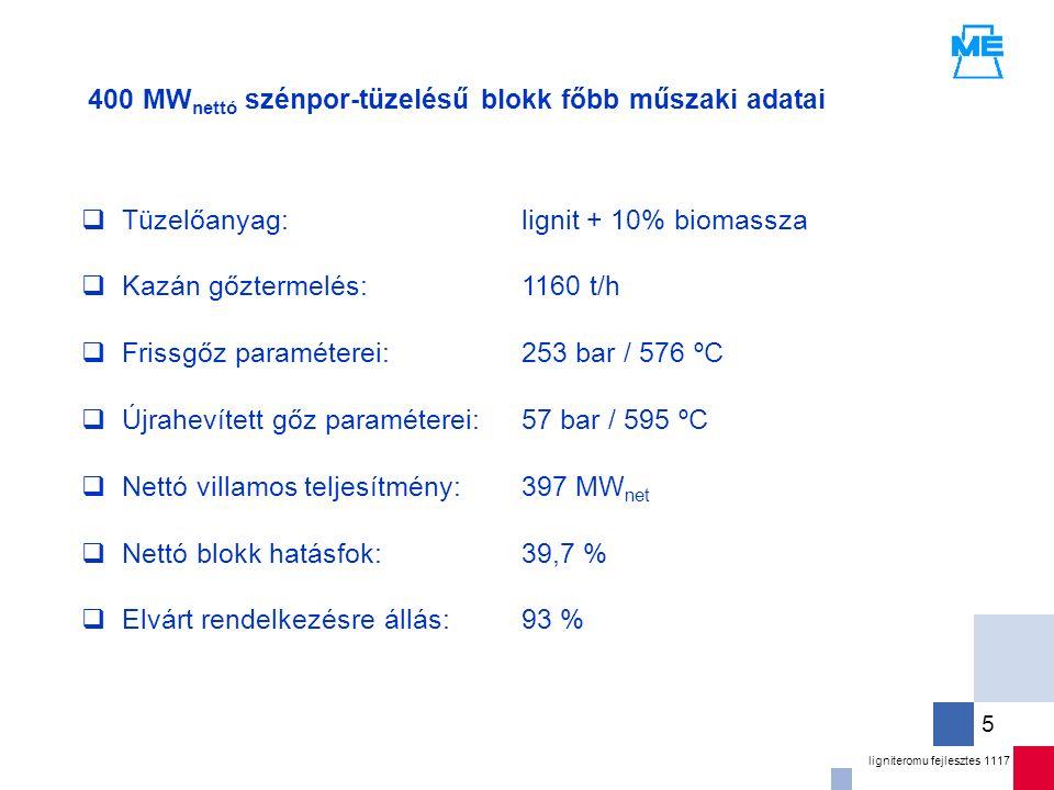 ligniteromu fejlesztes 1117 5  Tüzelőanyag:  Kazán gőztermelés:  Frissgőz paraméterei:  Újrahevített gőz paraméterei:  Nettó villamos teljesítmény:  Nettó blokk hatásfok:  Elvárt rendelkezésre állás: 400 MW nettó szénpor-tüzelésű blokk főbb műszaki adatai lignit + 10% biomassza 1160 t/h 253 bar / 576 ºC 57 bar / 595 ºC 397 MW net 39,7 % 93 %