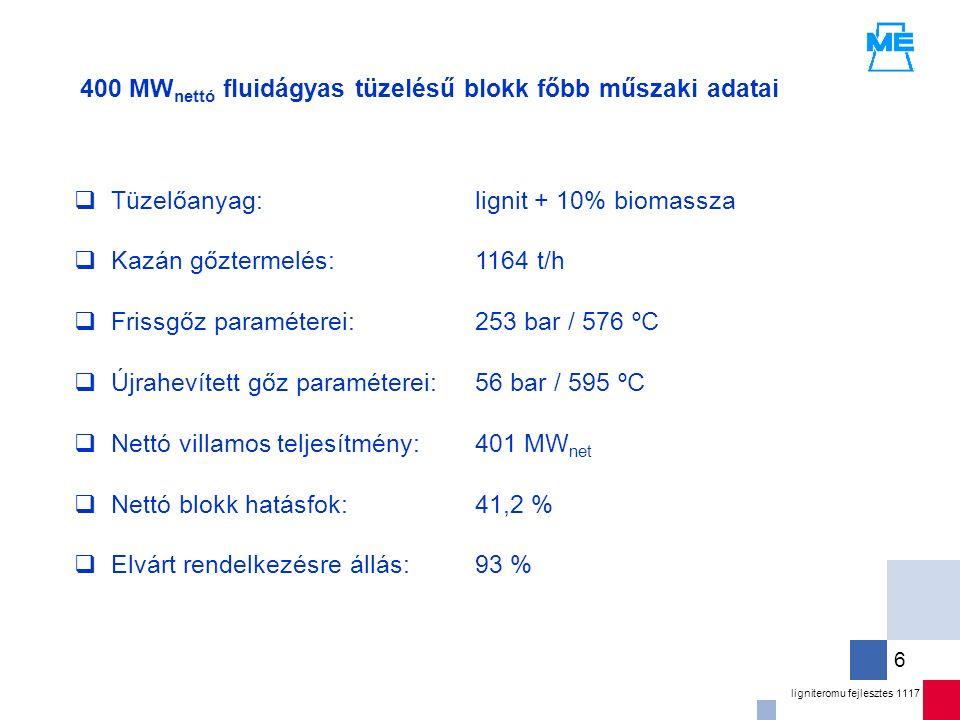 ligniteromu fejlesztes 1117 6  Tüzelőanyag:  Kazán gőztermelés:  Frissgőz paraméterei:  Újrahevített gőz paraméterei:  Nettó villamos teljesítmény:  Nettó blokk hatásfok:  Elvárt rendelkezésre állás: 400 MW nettó fluidágyas tüzelésű blokk főbb műszaki adatai lignit + 10% biomassza 1164 t/h 253 bar / 576 ºC 56 bar / 595 ºC 401 MW net 41,2 % 93 %