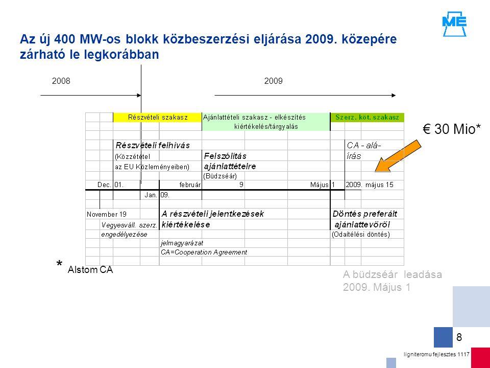 ligniteromu fejlesztes 1117 8 Az új 400 MW-os blokk közbeszerzési eljárása 2009.