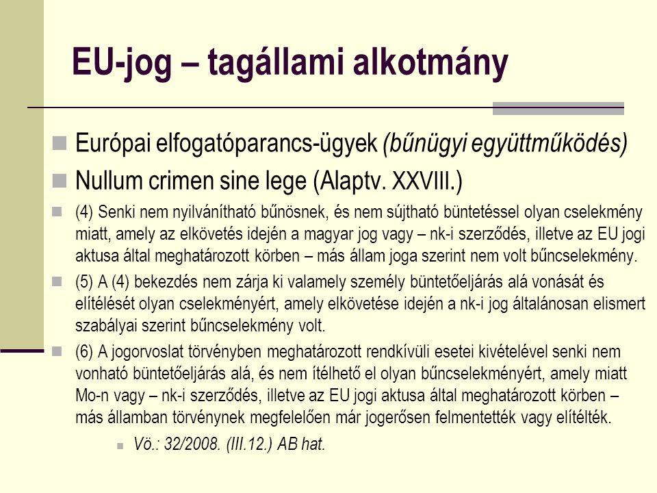 EU-jog – tagállami alkotmány Európai elfogatóparancs-ügyek (bűnügyi együttműködés) Nullum crimen sine lege (Alaptv. XXVIII.) (4) Senki nem nyilvánítha