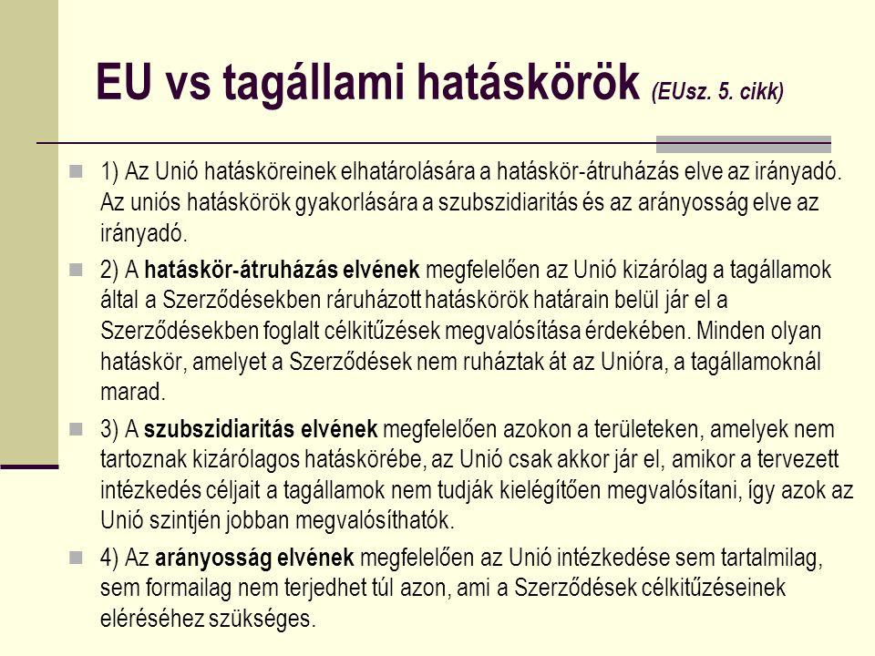 EU vs tagállami hatáskörök (EUsz. 5. cikk) 1) Az Unió hatásköreinek elhatárolására a hatáskör-átruházás elve az irányadó. Az uniós hatáskörök gyakorlá