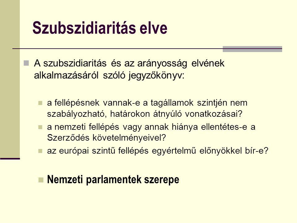 Szubszidiaritás elve A szubszidiaritás és az arányosság elvének alkalmazásáról szóló jegyzőkönyv: a fellépésnek vannak-e a tagállamok szintjén nem szabályozható, határokon átnyúló vonatkozásai.