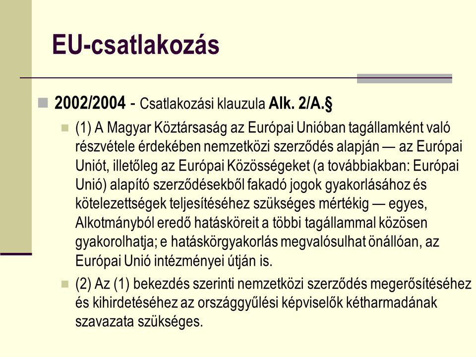EU-csatlakozás 2002/2004 - Csatlakozási klauzula Alk. 2/A.§ (1) A Magyar Köztársaság az Európai Unióban tagállamként való részvétele érdekében nemzetk