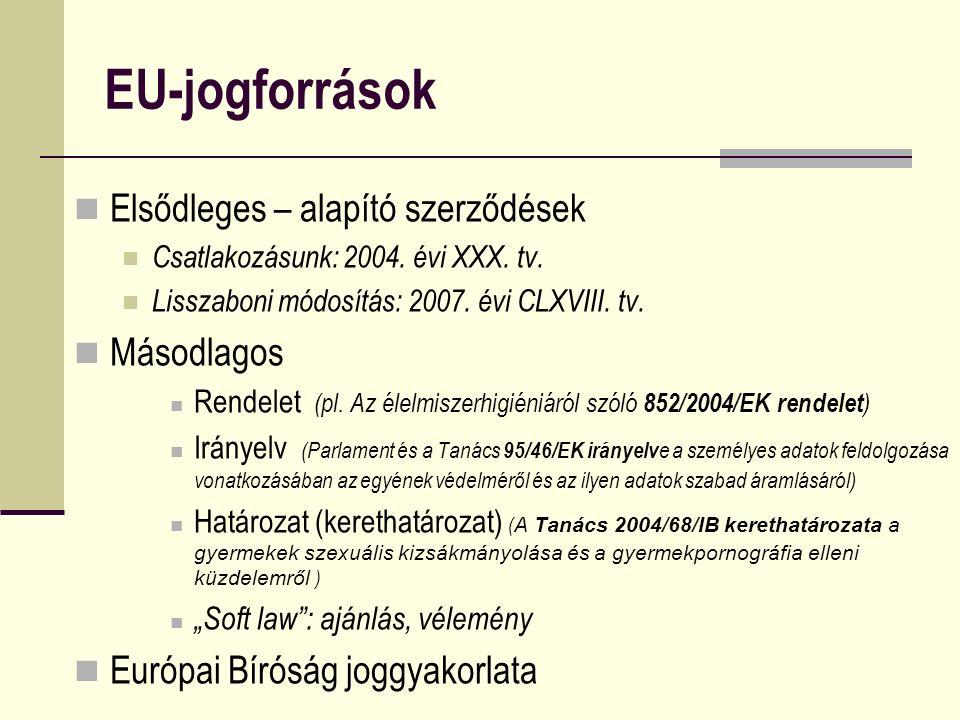 EU-jogforrások Elsődleges – alapító szerződések Csatlakozásunk: 2004. évi XXX. tv. Lisszaboni módosítás: 2007. évi CLXVIII. tv. Másodlagos Rendelet (p