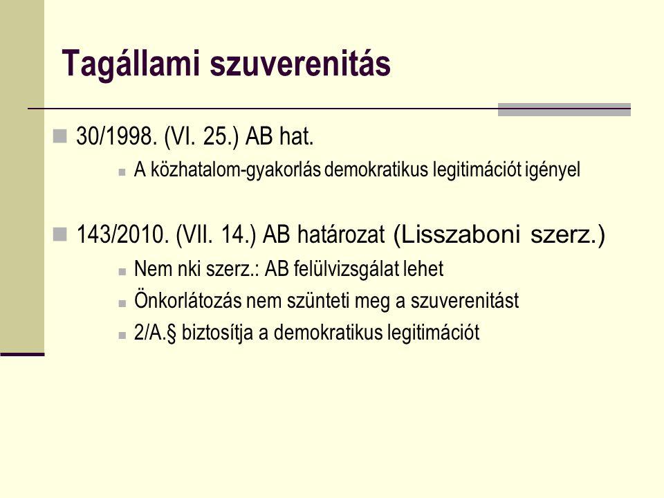 Tagállami szuverenitás 30/1998. (VI. 25.) AB hat. A közhatalom-gyakorlás demokratikus legitimációt igényel 143/2010. (VII. 14.) AB határozat (Lisszabo