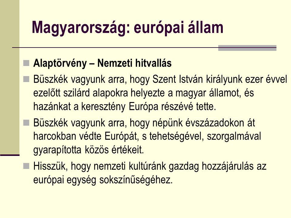 Magyarország: európai állam Alaptörvény – Nemzeti hitvallás Büszkék vagyunk arra, hogy Szent István királyunk ezer évvel ezelőtt szilárd alapokra helyezte a magyar államot, és hazánkat a keresztény Európa részévé tette.