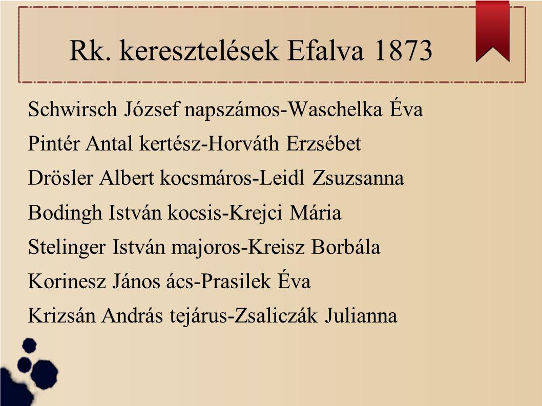 Rk. keresztelések Efalva 1873 Schwirsch József napszámos-Waschelka Éva Pintér Antal kertész-Horváth Erzsébet Drösler Albert kocsmáros-Leidl Zsuzsanna