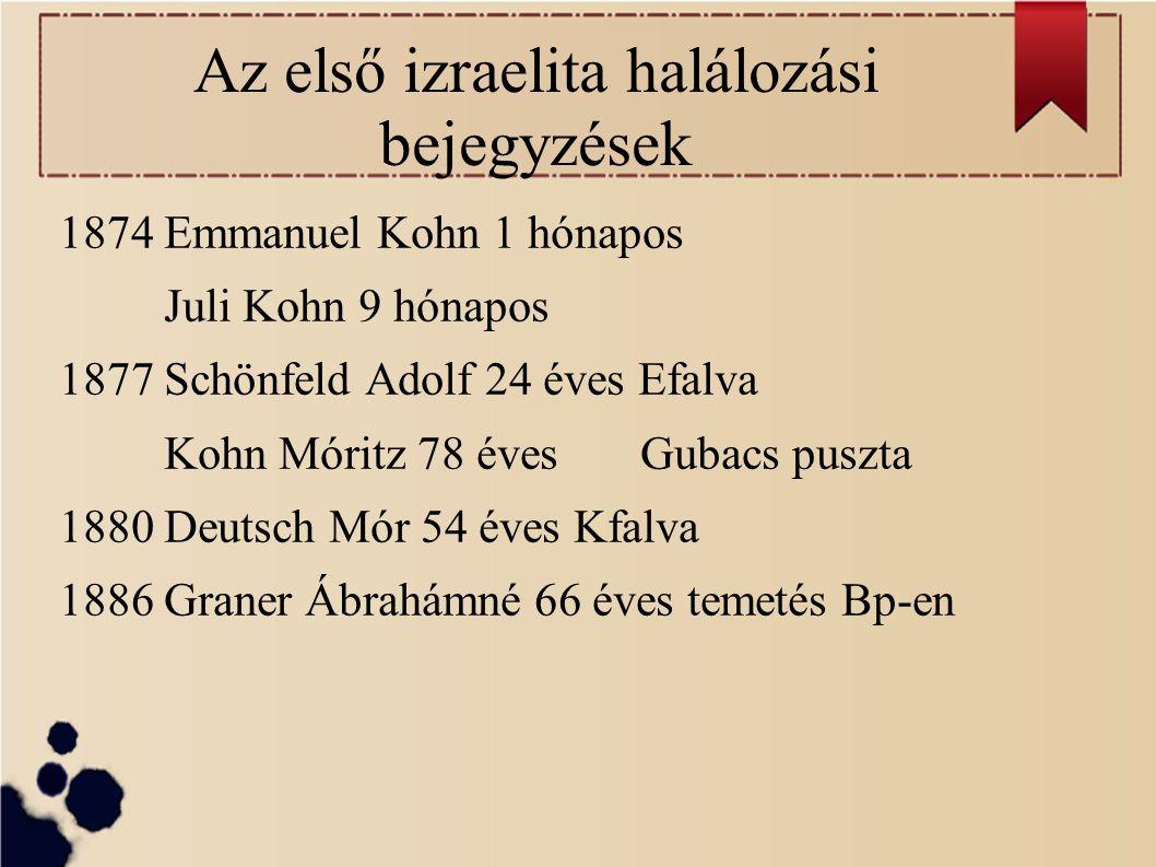 Az első izraelita halálozási bejegyzések 1874 Emmanuel Kohn 1 hónapos Juli Kohn 9 hónapos 1877 Schönfeld Adolf 24 éves Efalva Kohn Móritz 78 éves Gubacs puszta 1880 Deutsch Mór 54 éves Kfalva 1886 Graner Ábrahámné 66 éves temetés Bp-en