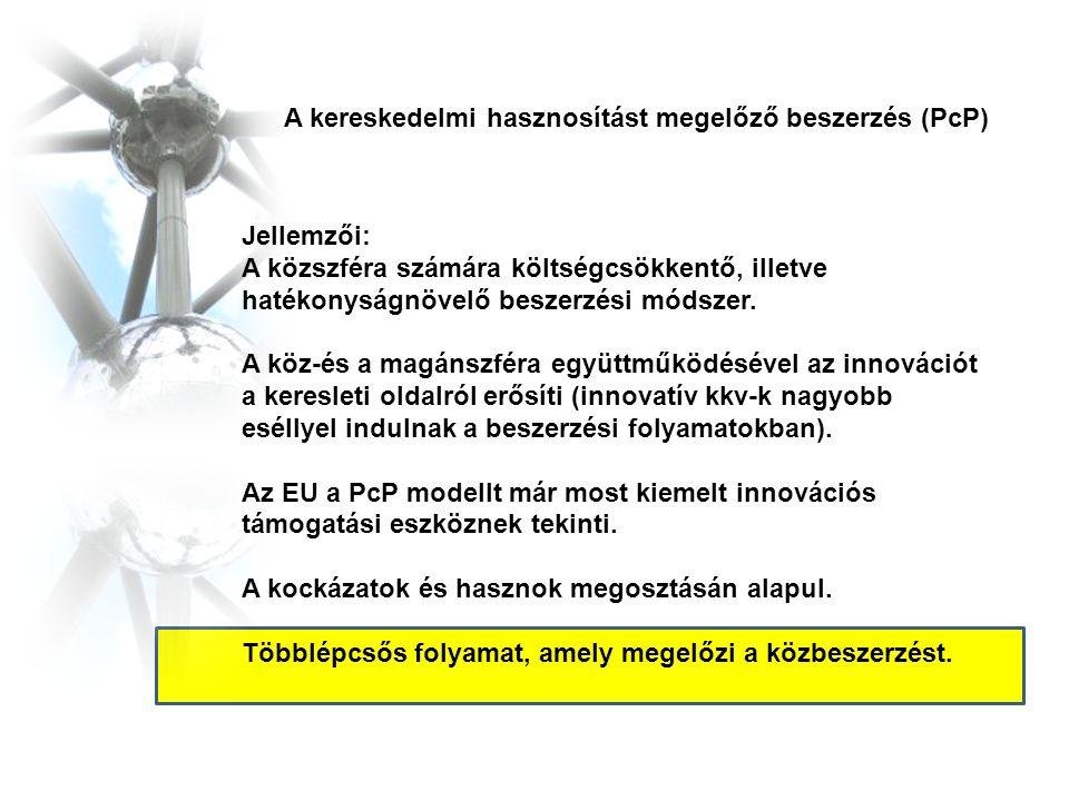A kereskedelmi hasznosítást megelőző beszerzés (PcP) Jellemzői: A közszféra számára költségcsökkentő, illetve hatékonyságnövelő beszerzési módszer. A
