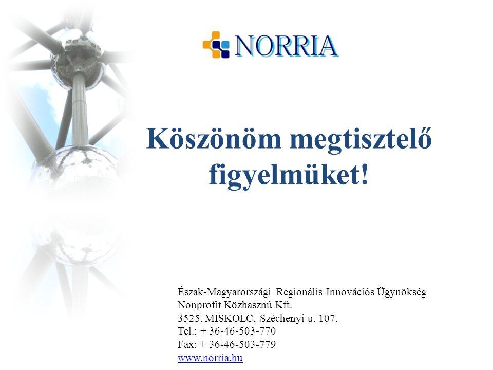 Köszönöm megtisztelő figyelmüket! Észak-Magyarországi Regionális Innovációs Ügynökség Nonprofit Közhasznú Kft. 3525, MISKOLC, Széchenyi u. 107. Tel.: