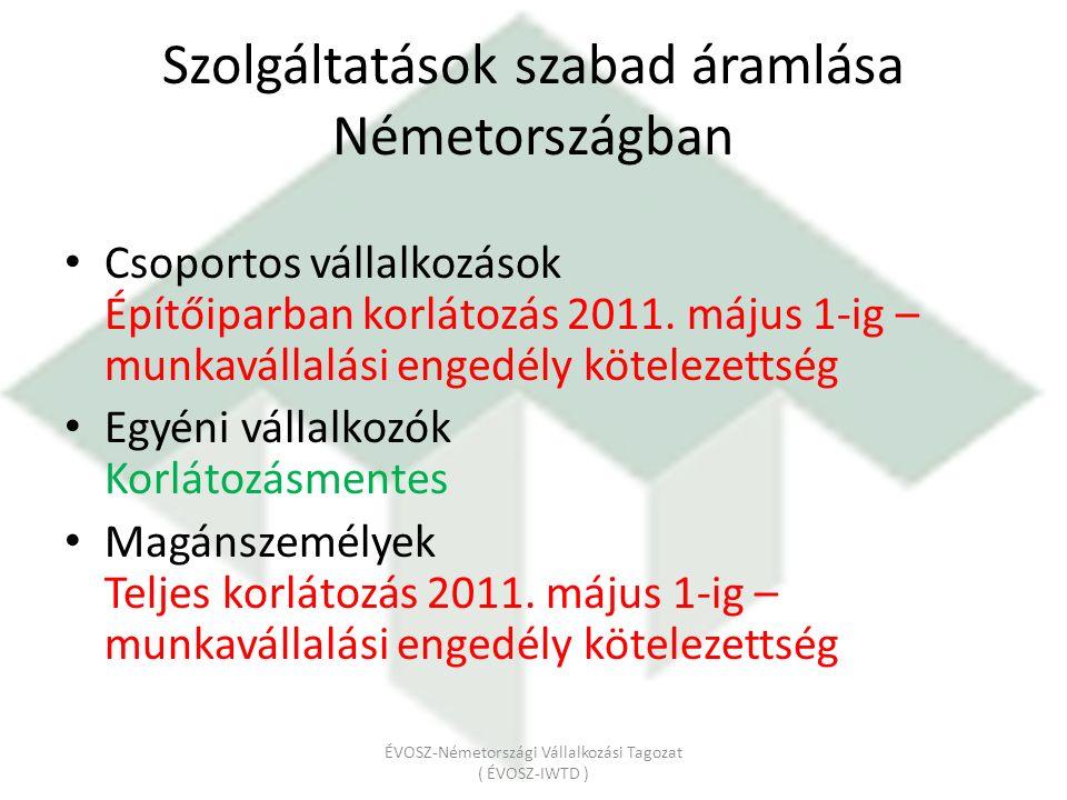Csoportos vállalkozások Építőiparban korlátozás 2011.