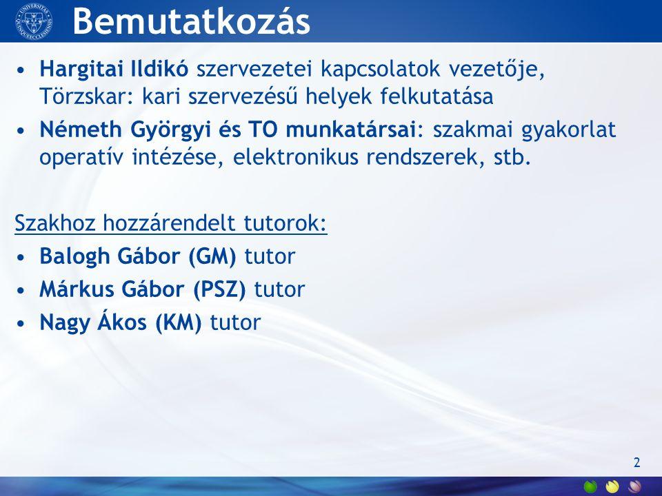 Bemutatkozás Hargitai Ildikó szervezetei kapcsolatok vezetője, Törzskar: kari szervezésű helyek felkutatása Németh Györgyi és TO munkatársai: szakmai