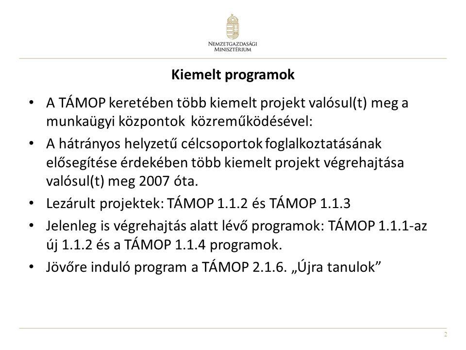 2 Kiemelt programok A TÁMOP keretében több kiemelt projekt valósul(t) meg a munkaügyi központok közreműködésével: A hátrányos helyzetű célcsoportok foglalkoztatásának elősegítése érdekében több kiemelt projekt végrehajtása valósul(t) meg 2007 óta.