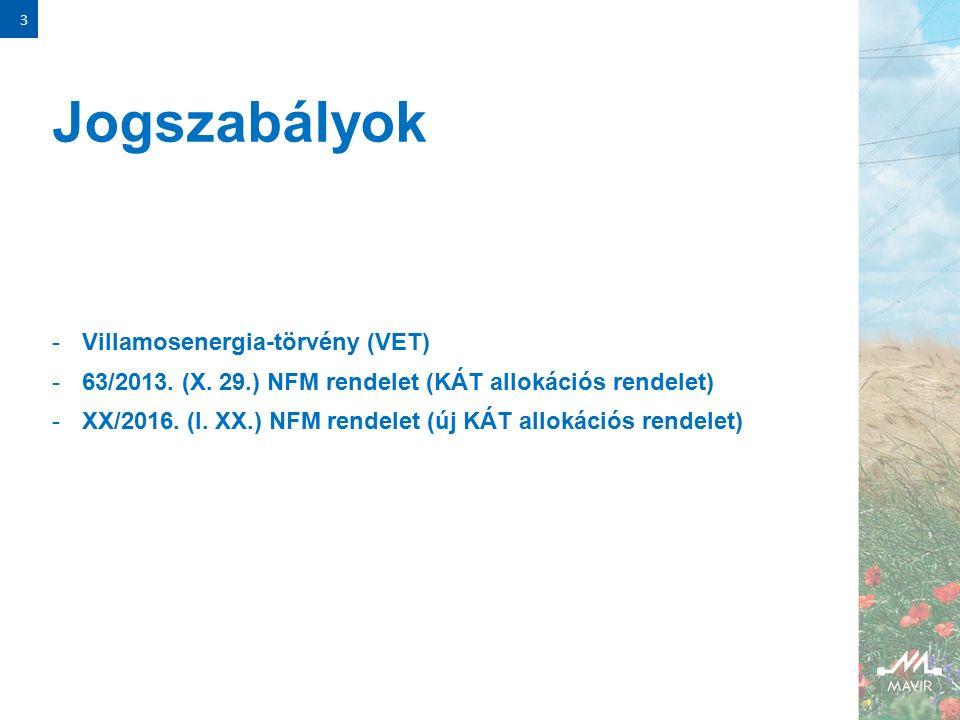 Jogszabályok -Villamosenergia-törvény (VET) -63/2013.