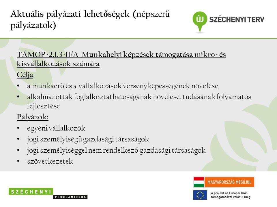 Aktuális pályázati lehet ő ségek (nép szer ű pályázatok) TÁMOP-2.1.3-11/A Munkahelyi képzések támogatása mikro- és kisvállalkozások számára Célja : a munkaer ő és a vállalkozások versenyképességének növelése alkalmazottak foglalkoztathatóságának növelése, tudásának folyamatos fejlesztése Pályázók: egyéni vállalkozók jogi személyiség ű gazdasági társaságok jogi személyiséggel nem rendelkez ő gazdasági társaságok szövetkezetek