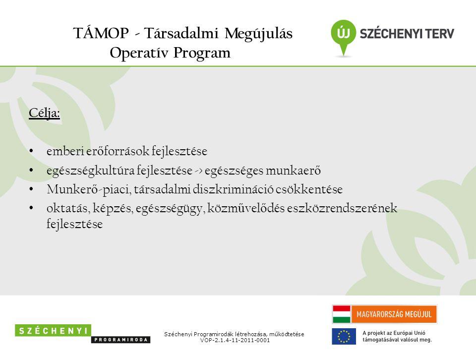 TÁMOP - Társadalmi Megújulás Operatív Program Célja: emberi er ő források fejlesztése egészségkultúra fejlesztése -> egészséges munkaer ő Munker ő -piaci, társadalmi diszkrimináció csökkentése oktatás, képzés, egészségügy, közm ű vel ő dés eszközrendszerének fejlesztése Széchenyi Programirodák létrehozása, működtetése VOP-2.1.4-11-2011-0001