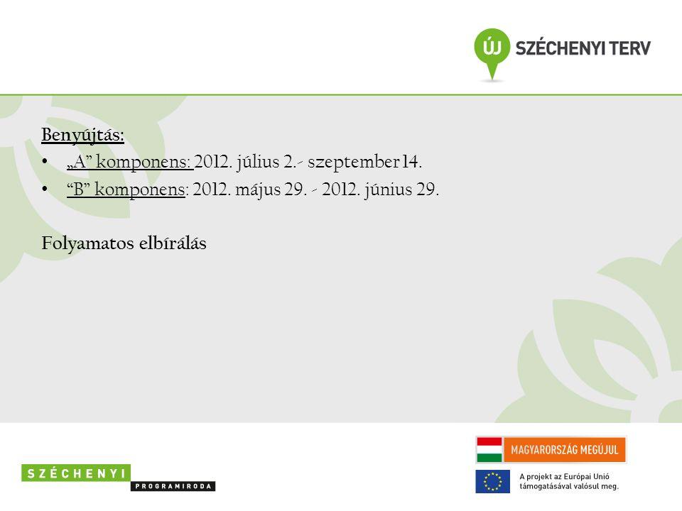 """Benyújtás: """"A komponens: 2012. július 2.- szeptember 14."""