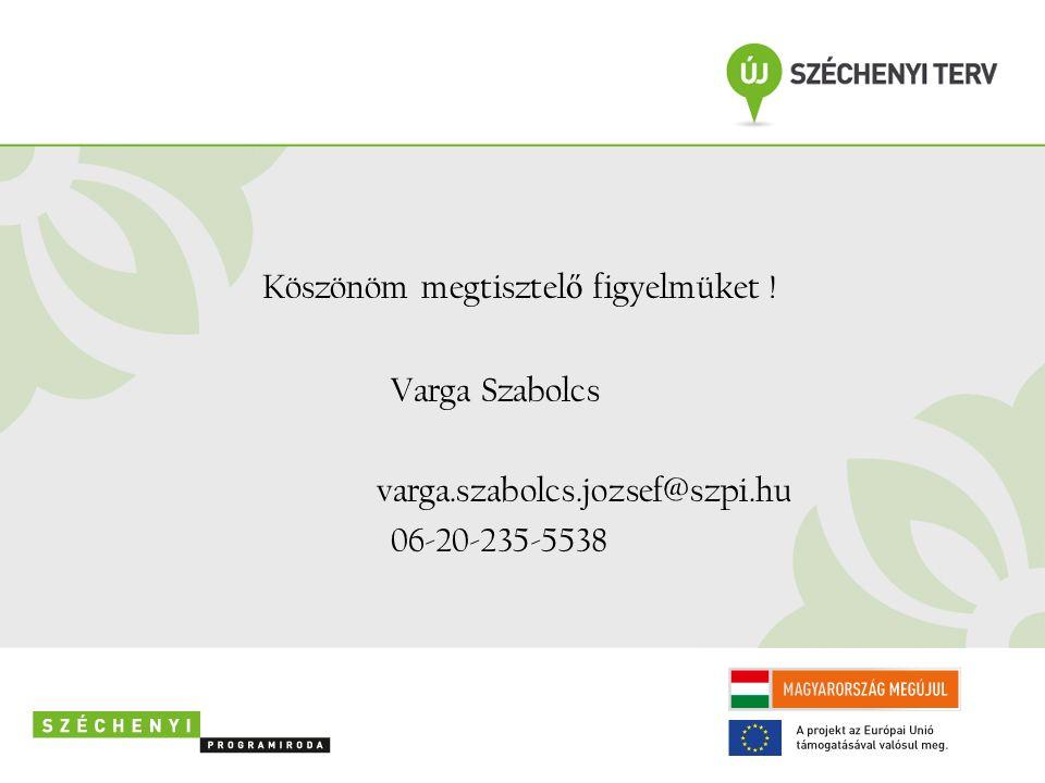 Köszönöm megtisztel ő figyelmüket ! Varga Szabolcs varga.szabolcs.jozsef@szpi.hu 06-20-235-5538
