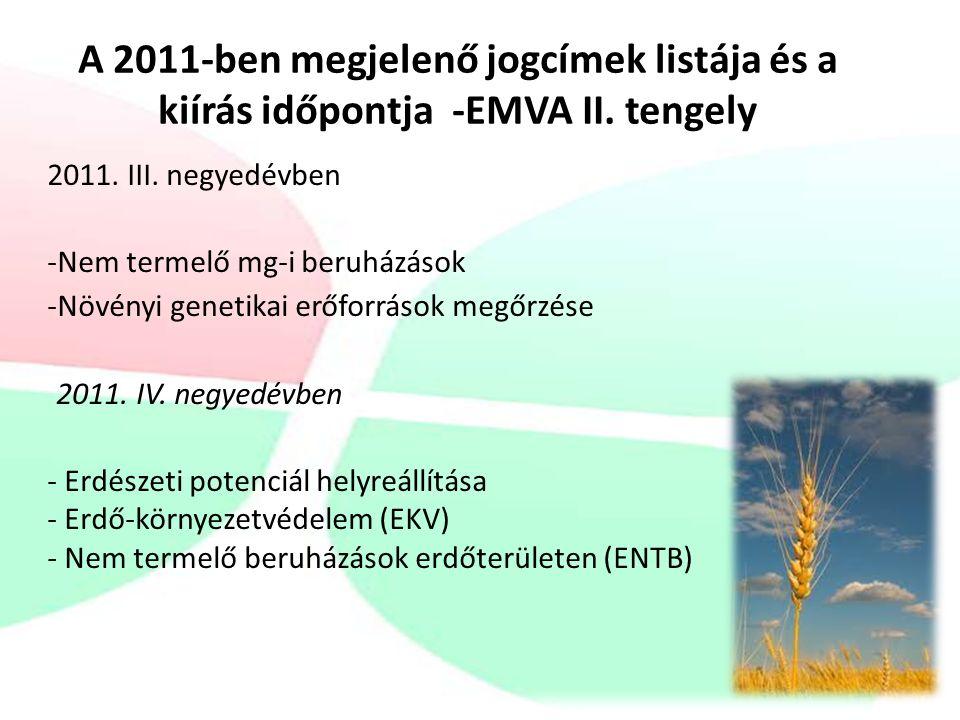 A 2011-ben megjelenő jogcímek listája és a kiírás időpontja -EMVA II.