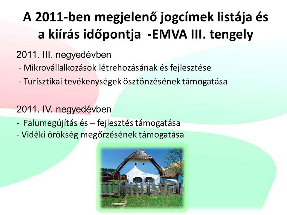 A 2011-ben megjelenő jogcímek listája és a kiírás időpontja -EMVA III.