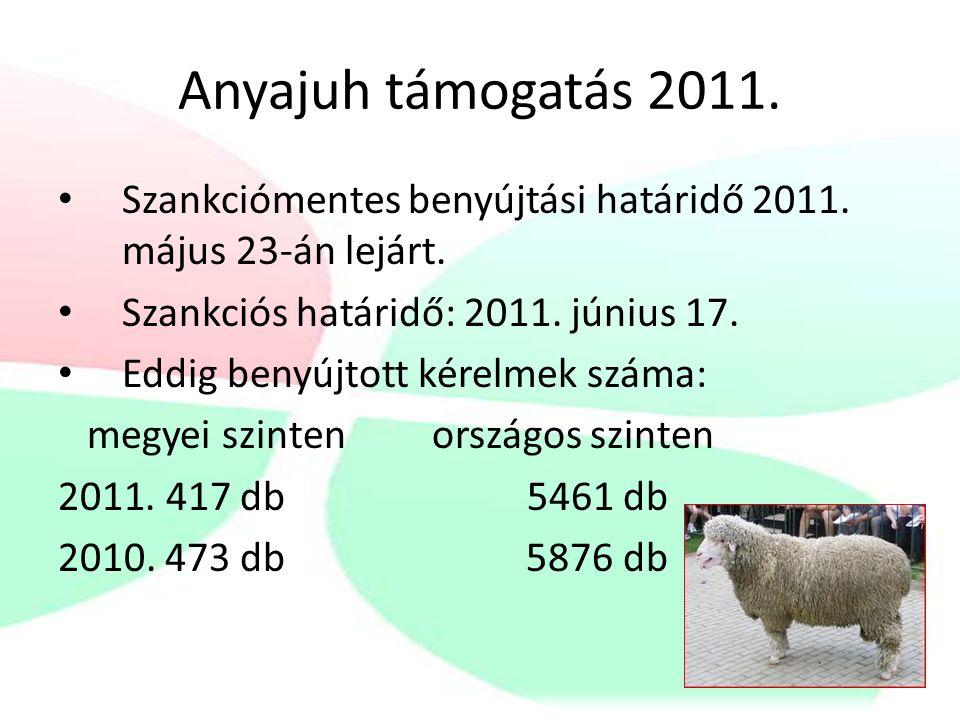 Kedvezőtlen adottságú területeken történő anyajuh kiegészítő támogatás 2011.