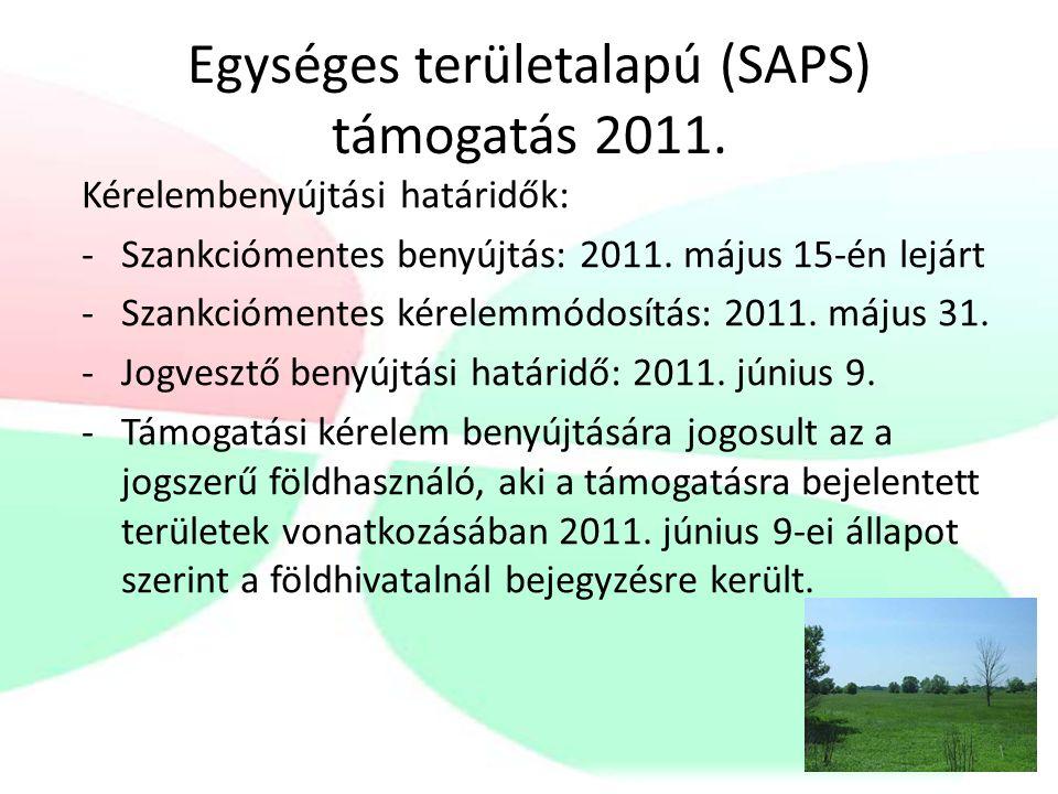 Egységes területalapú (SAPS) támogatás 2011.