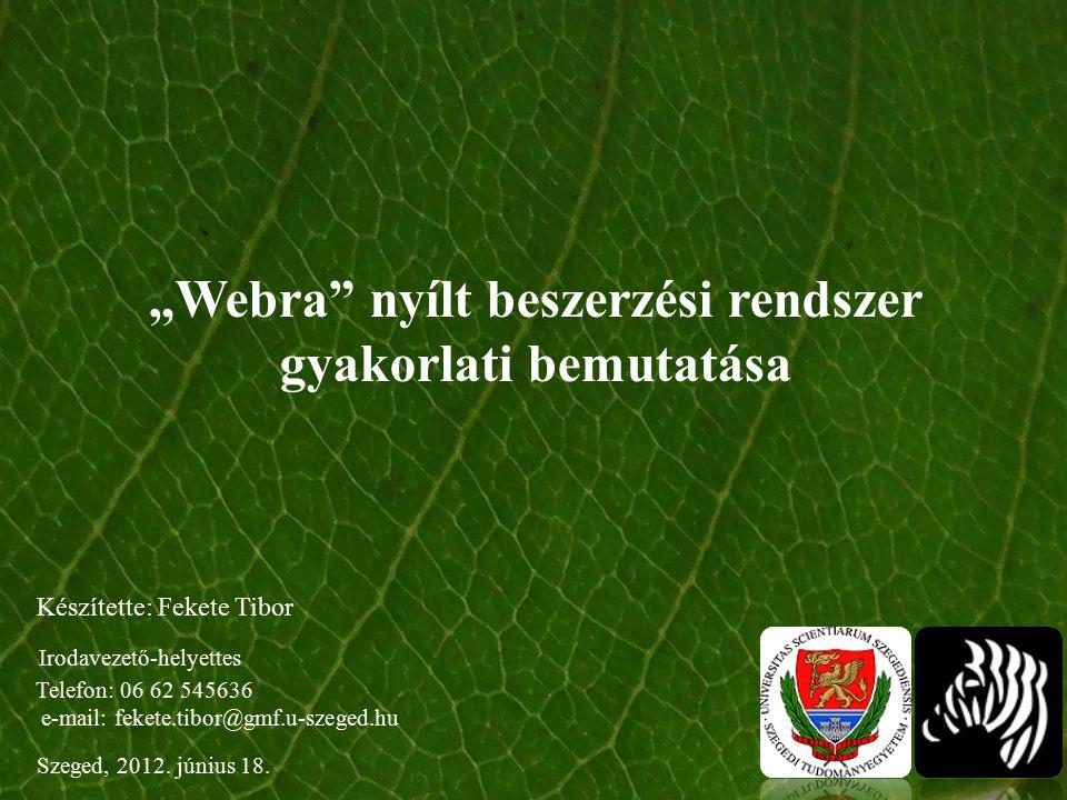 """""""Webra nyílt beszerzési rendszer gyakorlati bemutatása Szeged, 2012."""