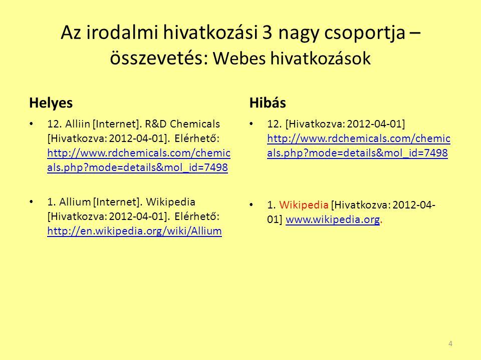 Az irodalmi hivatkozási 3 nagy csoportja – összevetés: Webes hivatkozások Helyes 12.