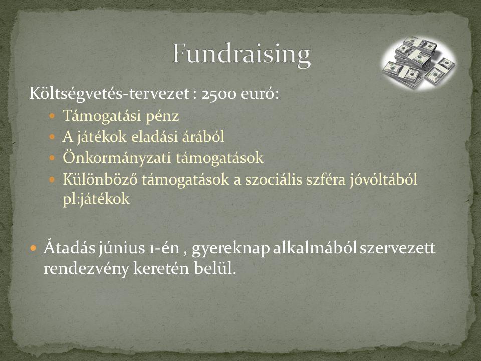 Költségvetés-tervezet : 2500 euró: Támogatási pénz A játékok eladási árából Önkormányzati támogatások Különböző támogatások a szociális szféra jóvóltából pl:játékok Átadás június 1-én, gyereknap alkalmából szervezett rendezvény keretén belül.