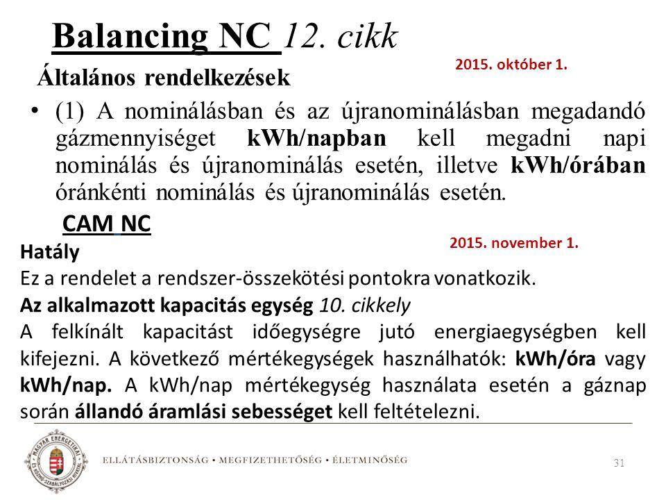 Balancing NC 12. cikk Általános rendelkezések (1) A nominálásban és az újranominálásban megadandó gázmennyiséget kWh/napban kell megadni napi nominálá