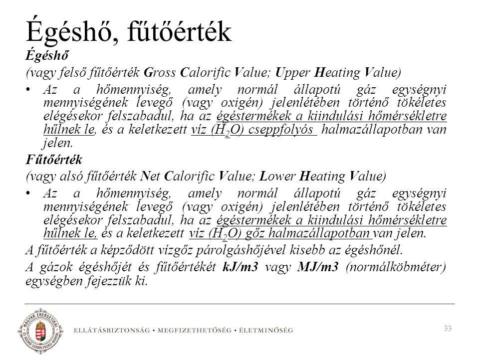 Égéshő, fűtőérték Égéshő (vagy felső fűtőérték Gross Calorific Value; Upper Heating Value) Az a hőmennyiség, amely normál állapotú gáz egységnyi menny