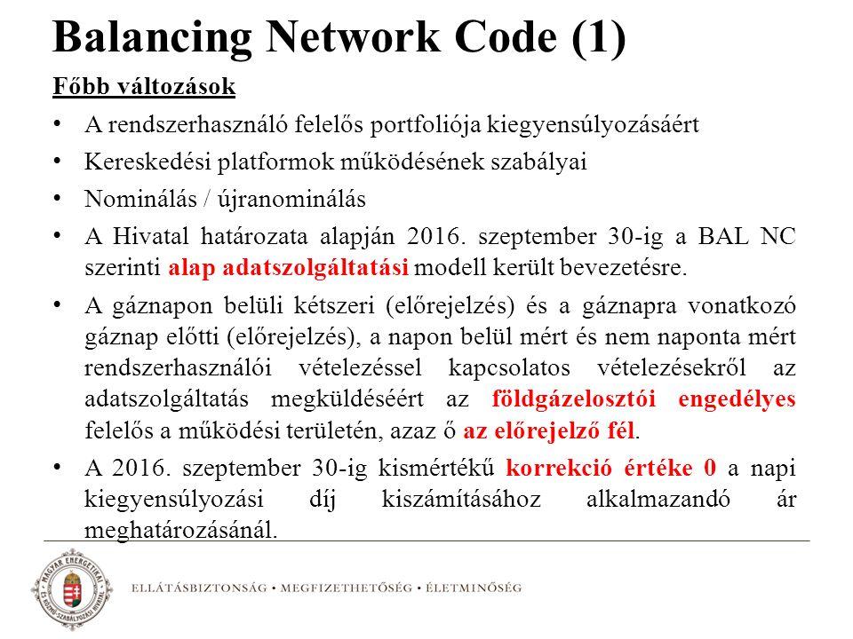 Balancing Network Code (1) Főbb változások A rendszerhasználó felelős portfoliója kiegyensúlyozásáért Kereskedési platformok működésének szabályai Nom